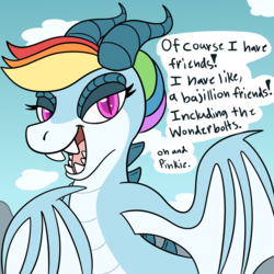 Size: 1200x1200 | Tagged: amphiptere, artist:artist-block, artist:ask-rainbow-wyrm, ask, ask-rainbow-wyrm, dragon, dragoness, dragonified, female, rainbow dash, rainbow dragon, safe, solo, species swap, speech bubble, tumblr, tumblr blog