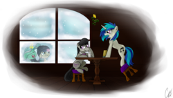 Size: 6400x3600 | Tagged: amused, artist:theravencriss, bon bon, bon bon is amused, bon bon the shipper, dj pon-3, earth pony, female, glowing horn, hat, lesbian, lyra heartstrings, lyra is amused, lyra the shipper, magic, mare, mistletoe, octavia is amused, octavia melody, pony, safe, scratchtavia, shipper on deck, shipping, simple background, smiling, sweetie drops, telekinesis, transparent background, unamused, unicorn, vinyl is not amused, vinyl scratch