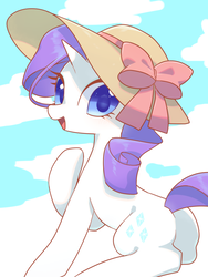 Size: 1200x1600 | Tagged: safe, artist:kkmrarar, rarity, pony, unicorn, colored pupils, cute, female, hat, looking at you, looking back, looking back at you, mare, open mouth, raised hoof, raribetes, smiling, solo, sun hat