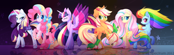 Size: 1600x504 | Tagged: safe, artist:scarlet-spectrum, applejack, fluttershy, pinkie pie, rainbow dash, rarity, twilight sparkle, alicorn, earth pony, pegasus, pony, unicorn, colored pupils, colored wings, eyes closed, female, gradient wings, looking at you, mane six, mare, multicolored wings, rainbow power, rainbow power-ified, rainbow wings, smiling, speedpaint available, spread wings, twilight sparkle (alicorn), watermark, wings