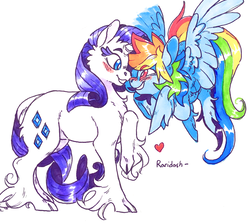 Size: 967x862 | Tagged: source needed, safe, artist:xenon, rainbow dash, rarity, classical unicorn, pegasus, pony, unicorn, blushing, boop, cheek fluff, chest fluff, cloven hooves, cute, eye contact, female, flying, grin, heart, leg fluff, leonine tail, lesbian, looking at each other, mare, noseboop, nuzzling, raised hoof, raridash, shipping, simple background, smiling, spread wings, unshorn fetlocks, white background, wings