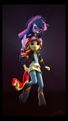 Size: 5400x9600 | Tagged: safe, artist:imafutureguitarhero, sci-twi, sunset shimmer, twilight sparkle, alicorn, pony, unicorn, anthro, unguligrade anthro, equestria girls, 3d, absurd file size, absurd resolution, adidas, alternate hairstyle, anthro with ponies, black bars, boots, border, chromatic aberration, clothes, cute, dress, equestria girls ponified, female, film grain, floppy ears, hoodie, horn, jacket, leather jacket, lesbian, open mouth, pants, ponified, ponytail, scitwilicorn, scitwishimmer, shipping, shoes, signature, sitting on head, skirt, source filmmaker, sunsetsparkle, tongue out, tracksuit, twiabetes, twilight sparkle (alicorn), vertical, wings