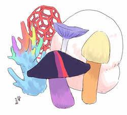 Size: 1000x910 | Tagged: safe, artist:yanamosuda, applejack, fluttershy, pinkie pie, rainbow dash, rarity, twilight sparkle, fungus, latticed stinkhorn, mane six, mushroom, my little x, puffball mushroom, simple background, species swap, wat, white background