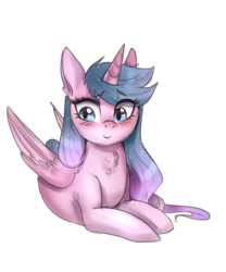 Size: 1953x2344 | Tagged: safe, artist:mrscurlystyles, oc, oc only, oc:artshine, alicorn, pony, 2018 community collab, derpibooru community collaboration, alicorn oc, blushing, c:, chest fluff, cute, female, looking away, mare, ocbetes, prone, simple background, smiling, solo, transparent background