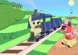 Size: 1500x1054   Tagged: safe, artist:trackheadtherobopony, oc, oc only, oc:lilly bell, oc:trackhead, original species, pony, robot, robot pony, wheelpone, battery, blimp, bush, i can't believe it's not badumsquish, solo, trainpony