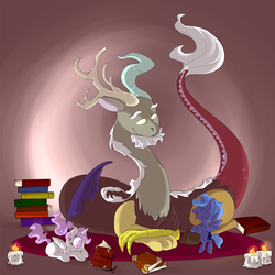 Size: 1560x1560 | Tagged: safe, artist:friendlyraccoon, discord, princess celestia, princess luna, book, candle, cewestia, female, filly, pink-mane celestia, woona, younger