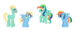 Size: 1747x700 | Tagged: artist:michellminor, female, male, oc, oc:rainbow breeze, oc:thunder dash, offspring, parent:rainbow dash, parents:zephdash, parent:zephyr breeze, rainbow dash, safe, shipping, simple background, straight, transparent background, zephdash, zephyr breeze