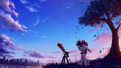 Size: 3568x2007 | Tagged: safe, artist:inowiseei, oc, oc only, oc:lapush buns, pony, unicorn, big ears, bunny ears, bunnycorn, city, commission, long ears, looking up, meteor, moon, scenery, scenery porn, shooting star, sitting, solo, speedpaint available, telescope, tree, water