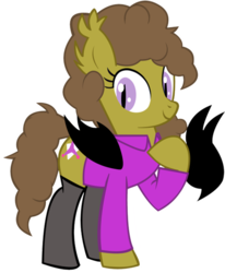 Size: 825x1000 | Tagged: safe, artist:succubi samus, oc, oc only, oc:moon pearl, bat pony, 2018 community collab, derpibooru community collaboration, bat pony oc, clothes, cutie mark, looking at you, peace sign, raised hoof, self ponification, simple background, smiling, socks, standing, transparent background, wing hands
