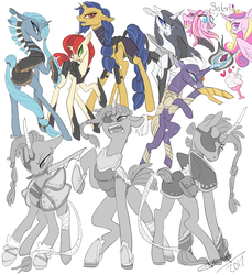 Size: 1100x1200 | Tagged: safe, artist:creeate97, princess cadance, tempest shadow, alicorn, pony, unicorn, my little pony: the movie, alternate design, amputee, armor, broken horn, dialogue, eye scar, eyepatch, female, mare, mouth hold, prosthetic horn, prosthetic limb, prosthetics, scar, simple background, sword, tail wrap, weapon, white background