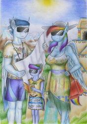 Size: 1637x2326 | Tagged: safe, artist:sinaherib, rainbow dash, soarin', oc, oc:rainfall, anthro, clothes, female, filly, male, mare, offspring, parent:rainbow dash, parent:soarin', parents:soarindash, shipping, soarindash, stallion, straight, sun, sunglasses, traditional art