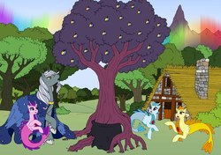 Size: 5995x4221 | Tagged: safe, artist:westphalianartist, adagio dazzle, aria blaze, sonata dusk, star swirl the bearded, pony, siren, equestria girls, absurd resolution, apple, apple tree, baby siren, backstory, beard, cauldron, cloak, clothes, cloven hooves, cottage, dazzling, facial hair, family, father, father and daughter, female, food, forest, gaping, house, kettle, magician, magician outfit, male, moon, mountain, pointing, rainbow, sisters, stars, story in the source, story included, surprised, tree, wizard, worried, zap apple, zap apple tree
