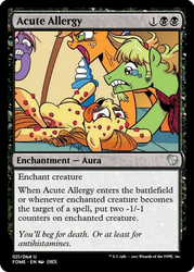 Size: 375x523 | Tagged: safe, artist:brendahickey, idw, apple crisp, applejack, bright bridle, ginger gold (idw), friends forever, allergic reaction, allergies, magic the gathering, tongue out, trading card, trading card edit