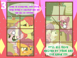 Size: 1024x768 | Tagged: advent calendar, angry, apple bloom, artist:bronybyexception, calculus, cheerilee, cutie mark crusaders, diamond tiara, pony, sad, safe, school, scootaloo, snow, sweetie belle, yardstick, yelling