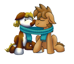 Size: 5000x4300 | Tagged: 2018 community collab, absurd res, accessories, artist:hilfigirl, artist:yugtra, clothes, couple, cute, derpibooru community collaboration, heavyprint, oc, oc:heavy weight, oc only, oc:pawprint, pony, safe, scarf, shared clothing, simple background, sitting, snuggling, transparent background, unicorn
