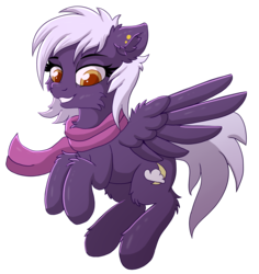 Size: 2636x2790 | Tagged: safe, artist:nighty, derpibooru exclusive, oc, oc only, oc:nighty cloud, pegasus, pony, 2018 community collab, derpibooru community collaboration, clothes, colored pupils, ear fluff, ear piercing, female, fluffy, flying, piercing, scarf, simple background, smiling, solo, transparent background