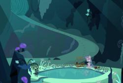 Size: 2500x1700 | Tagged: artist:kooner-cz, artist:tomfraggle, boulder clone, boulder (pet), cave, cave pool, maud pie, mirror pool, pony, safe