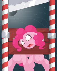 Size: 2400x3000   Tagged: safe, artist:regolithart, pinkie pie, earth pony, pony, blade, execution, female, guillotine, imminent death, imminent decapitation, mare, scared, solo focus, story included, this will end in tears and/or death