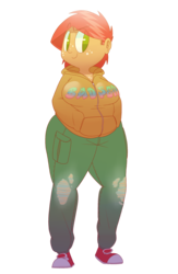 Size: 1700x2600 | Tagged: safe, artist:secretgoombaman12345, babs seed, human, ask chubby diamond, ask, blob seed, chubby, converse, fat, female, humanized, moderate dark skin, shoes, simple background, solo, transparent background, tumblr, wide hips