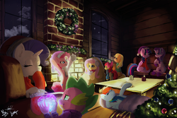 Size: 4000x2667 | Tagged: safe, artist:brother-lionheart, artist:luanton, artist:nsilverdraws, apple bloom, applejack, fluttershy, pinkie pie, rainbow dash, rarity, spike, starlight glimmer, twilight sparkle, alicorn, dragon, earth pony, pegasus, pony, unicorn, christmas, christmas decoration, christmas tree, christmas wreath, clothes, collaboration, couch, cozy, female, fireplace, hat, hearth's warming, holiday, indoors, lying down, male, mane seven, mane six, night, no more ponies at source, santa hat, scarf, shipping, sitting, sparity, straight, sweater, tree, twilight sparkle (alicorn), wall of tags, window, wreath