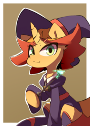 Size: 2498x3512 | Tagged: safe, artist:luxaestas, pony, unicorn, amanda o'neill, anime, boots, clothes, crossover, dress, hat, little witch academia, magic, magic aura, magic wand, ponified, shoes, simple background, skirt, solo, wand, witch, witch hat