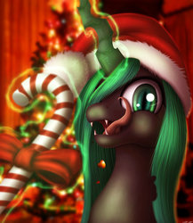 Size: 1024x1179 | Tagged: dead source, safe, artist:jeki, queen chrysalis, changeling, changeling queen, candy, candy cane, christmas, christmas changeling, christmas tree, female, food, glowing horn, green changeling, hat, holiday, santa hat, solo, tree