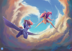 Size: 2483x1754   Tagged: dead source, safe, artist:noctilucent-arts, fluttershy, rainbow dash, pegasus, pony, cloud, commission, duo, duo female, epic, female, flying, friendshipping, inspirational, looking at each other, mare, sky, smiling, spread wings, vertigo, wings