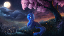 Size: 4000x2250 | Tagged: safe, alternate version, artist:atlas-66, princess luna, pony, cherry blossoms, cherry tree, female, flower, flower blossom, full moon, looking away, mare, moon, night, ponyville, scenery, scenery porn, sitting, smiling, solo, spread wings, stars, town, tree, under the tree, wings, wings down