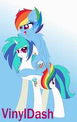 Size: 519x815 | Tagged: artist:superrosey16, backwards cutie mark, dj pon-3, female, lesbian, rainbow dash, safe, shipping, vinyldash, vinyl scratch