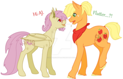 Size: 1024x655 | Tagged: safe, artist:superrosey16, applejack, fluttershy, bat pony, pony, applejack (male), appleshy, butterjack (gay), butterscotch, dialogue, eye contact, flutterbat, gay, looking at each other, male, neckerchief, profile, race swap, rule 63, shipping, standing, watermark