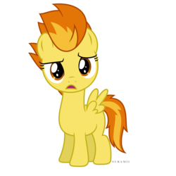 Size: 6000x6000 | Tagged: absurd res, artist:suramii, confused, female, filly, filly spitfire, open mouth, parental glideance, pegasus, pony, safe, simple background, solo, spitfire, transparent background, vector