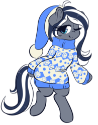 Size: 3360x4309   Tagged: safe, artist:wickedsilly, oc, oc only, oc:flutterbree, pony, bipedal, christmas, clothes, commission, hat, holiday, one eye closed, santa hat, simple background, snow, snowflake, solo, sweater, transparent background, wink