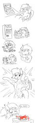 Size: 521x1812 | Tagged: safe, artist:jargon scott, oc, oc only, oc:panne, bat pony, pony, abs, armpits, bag, bat pony oc, blender (object), chubby, comic, computer, eeee, exercise, fat, female, flexing, food, french fries, heck, ketchup, lifting, lineart, lol ur fat, mare, muscles, partial color, pose, refrigerator, running, sad, sauce, simple background, speech, sweat, temptation, treadmill, white background