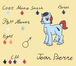 Size: 2300x2000 | Tagged: alcohol, artist:ononim, beret, bottle, chest fluff, facial hair, french, hat, male, moustache, oc, oc:jean pierre, oc only, pony, reference sheet, safe, simple background, solo, stallion, unicorn, unshorn fetlocks, wine