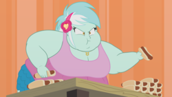 Size: 3840x2160 | Tagged: safe, artist:neongothic, lyra heartstrings, all's fair in love and friendship games, equestria girls, friendship games, 4k, bbw, belly, big belly, big breasts, breasts, busty lyra heartstrings, chubby cheeks, cleavage, double chin, fat, fat edit, female, food, hot dog, lard-ra heartstrings, lyra scarfing down weiners, meat, morbidly obese, obese, reality ensues, sausage, solo, ssbbw, story in the comments, weight gain