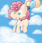 Size: 4232x4384 | Tagged: safe, artist:brsajo, oc, oc only, earth pony, pony, absurd resolution, balloon, cloud, female, filly, floating, looking down, offspring, parent:pinkie pie, sky, solo