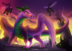 Size: 1024x724 | Tagged: adult, adult spike, artist:xormak, changeling, dragon, feathered dragon, fire, fire breath, older, older spike, safe, spike, winged spike