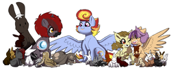 Size: 4300x1767 | Tagged: safe, artist:marukouhai, oc, oc only, oc:euli, oc:maximilian, oc:mekanikoak, oc:skipper, pegasus, pony, rabbit, unicorn, offspring, parent:apple bloom, parent:bulk biceps, parent:featherweight, parent:fluttershy, parent:rainbow dash, parent:rumble, parent:scootaloo, parent:soarin', parents:flutterbulk, parents:rumbloom, parents:scootaweight, parents:soarindash