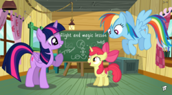Size: 3000x1650 | Tagged: safe, artist:bepreeh, artist:brony250, apple bloom, rainbow dash, twilight sparkle, alicorn, alicornified, bloomicorn, chalkboard, clubhouse, crusaders clubhouse, race swap, request, teaching, twilight sparkle (alicorn)