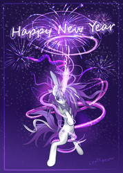 Size: 1024x1440 | Tagged: safe, artist:lexifyrestar, oc, oc only, oc:lexi fyrestar, fireworks, happy new year, holiday, magic, new year