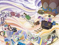 Size: 1168x900   Tagged: safe, artist:andypriceart, artist:sararichard, artist:tonyfleecs, oc, oc only, oc:blank canvas, oc:hoof beatz, oc:mane event, earth pony, pegasus, pony, unicorn, bronycon, bronycon mascots, female, hoofevent, hot air balloon, luggage, male, mare, stallion, trio