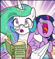 Size: 1261x1347 | Tagged: adorkable, alicorn, artist:pencils, book, bookhorse, cute, edit, editor:glitchyshadow, female, glasses, mare, open mouth, pony, princess celestia, safe, surprised, twilight sparkle, twilight sparkle (alicorn), yelling