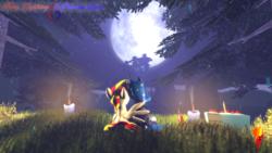 Size: 3840x2160   Tagged: safe, artist:fiery_lightning, princess luna, oc, oc:fiery lightning, 3d, alcohol, candle, canon x oc, fanart, fanon, fanon: luna x fiery lightning, fire, food, grass, moon, night, pie, pine tree, smoke, tree, vodka