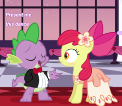 Size: 1593x1385 | Tagged: safe, artist:brony-art, apple bloom, spike, dragon, earth pony, pony, blushing, clothes, dialogue, dress, duo, eyes closed, female, filly, flower, gala dress, male, shipping, smiling, spikebloom, standing, straight, tuxedo