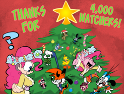 Size: 2380x1821 | Tagged: safe, artist:joeywaggoner, doctor whooves, pinkie pie, spirit of hearth's warming presents, time turner, oc, human, pony, big bird, breasts, busty pinkie pie, christmas, christmas tree, clothes, disney, donald duck, furry, holiday, human ponidox, humanized, kermit the frog, looking at each other, mistletoe, non-mlp oc, oswald the lucky rabbit, self ponidox, tree