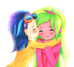 Size: 896x808 | Tagged: artist:electricshine, blushing, clothes, cute, ear piercing, earring, equestria girls, eyes closed, eyeshadow, female, goggles, indigo zap, jewelry, kissing, kpopjunkie is trying to murder us, lemonzap, lemon zest, lesbian, long hair, makeup, piercing, safe, shipping, simple background, smiling, white background