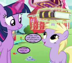 Size: 640x560 | Tagged: cropped, dinky hooves, edit, edited screencap, fame and misfortune, friendship journal, implied derpy, magic, magic aura, ponyville schoolhouse, safe, screencap, speech bubble, spoiler:s07e14, text, twilight sparkle