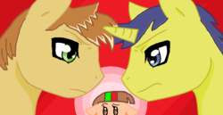 Size: 932x482 | Tagged: safe, artist:twidashfan1234, comet tail, feather bangs, oc, love triangle, versus