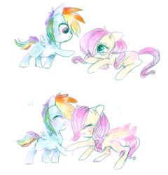 Size: 839x875 | Tagged: safe, artist:pinkablue, fluttershy, rainbow dash, pegasus, pony, blushing, crying, cute, daaaaaaaaaaaw, dashabetes, duo, eyes closed, female, filly, filly fluttershy, filly rainbow dash, flutterdash, happy, laughing, looking at each other, open mouth, raised hoof, simple background, smiling, white background, younger