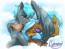 Size: 2434x1843 | Tagged: safe, artist:wishmarey, oc, oc only, oc:alternate, oc:leonera, clothes, couple, cuddling, hug, prone, scarf, snow, wing shelter, winghug